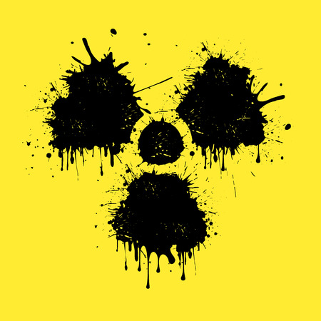 plutonium: sign of radiation from blots on a yellow background. Vector illustration