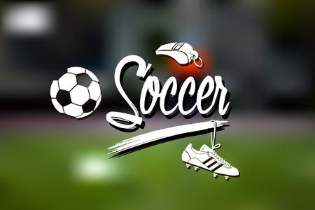 Set of soccer paraphernalia on blurred background  . Vector illustration