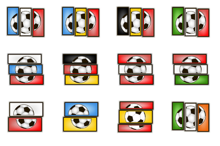 elimination: Set flags country and  soccer balls. European football championship France 2016. Vector illustration Illustration