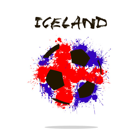 iceland flag: Abstract soccer ball painted in the colors of the Iceland flag. Vector illustration Illustration