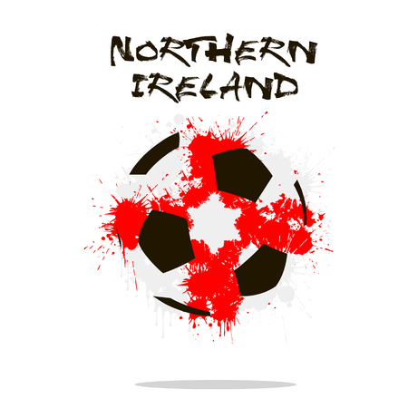 northern ireland: Abstract soccer ball painted in the colors of the Northern Ireland flag. Vector illustration