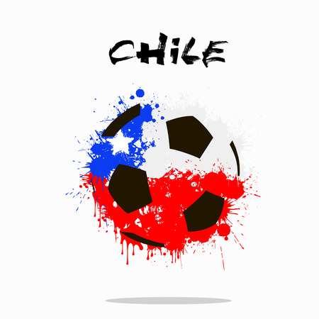 chile flag: Abstract soccer ball painted in the colors of the Chile flag. Vector illustration