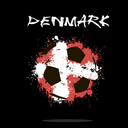 denmark flag: Abstract soccer ball painted in the colors of the Denmark flag. Vector illustration Illustration
