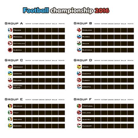 cuadro sinoptico: Football championship 2016. Summary table. Vector illustration Vectores