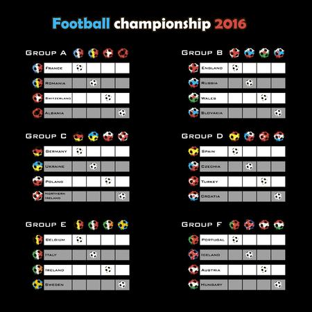 cuadro sinoptico: campeonato de f�tbol 2016. Tabla resumen. ilustraci�n vectorial Vectores