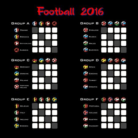 summary: Football championship 2016. Summary table. Vector illustration Illustration