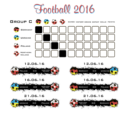 cuadro sinoptico: campeonato de fútbol 2016. Tabla resumen. ilustración vectorial Vectores
