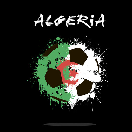 Abstract soccer ball painted in the colors of the Algeria flag. Vector illustration