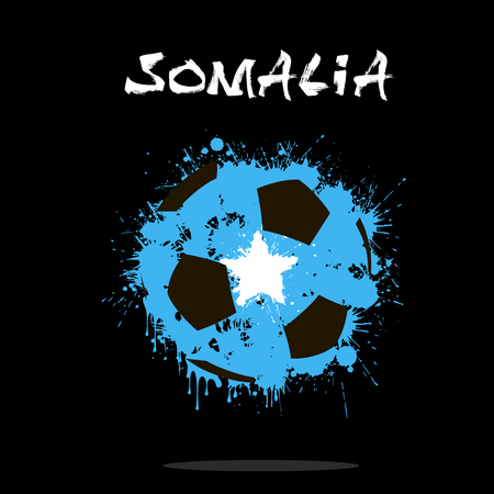 Abstract soccer ball painted in the colors of the Somalia flag. Vector illustration Illustration