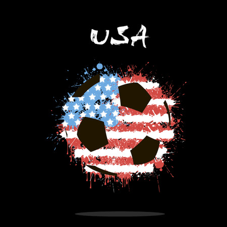Abstract soccer ball painted in the colors of the USA flag. Vector illustration Illustration