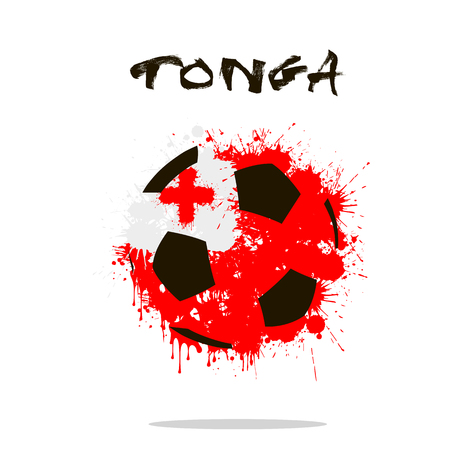 tonga: Abstract soccer ball painted in the colors of the Tonga flag. Vector illustration Illustration