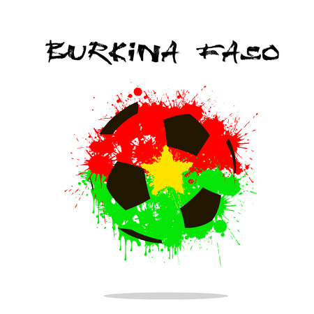 Abstract soccer ball painted in the colors of the Burkina Faso flag. Vector illustration Illustration