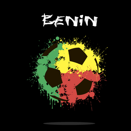Abstract soccer ball painted in the colors of the Benin flag. Vector illustration