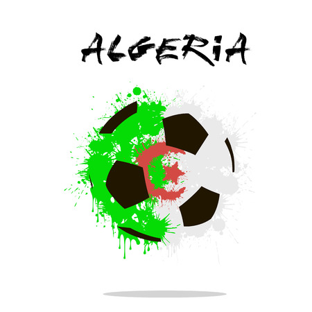 algeria: Abstract soccer ball painted in the colors of the Algeria flag. Vector illustration