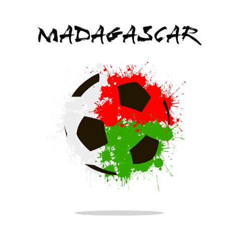 Abstract soccer ball painted in the colors of the Madagascar flag. Vector illustration