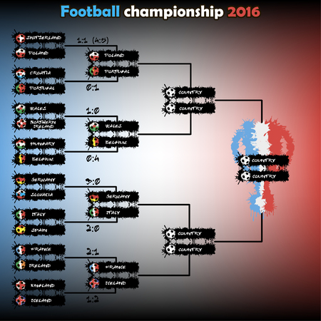 Football championship 2016. The grid playoff. Vector illustration Illustration