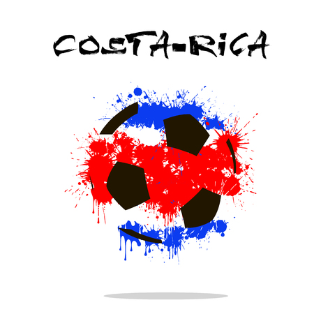 Abstract soccer ball painted in the colors of the Costa-Rica flag. Vector illustration