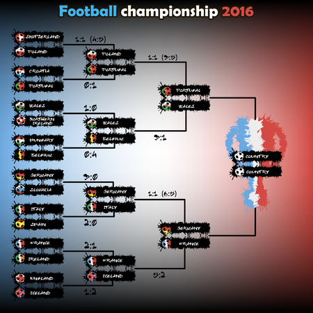 playoff: Football championship 2016. The grid playoff. Vector illustration Illustration