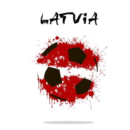 Abstract soccer ball painted in the colors of the Latvia flag. Vector illustration Illustration
