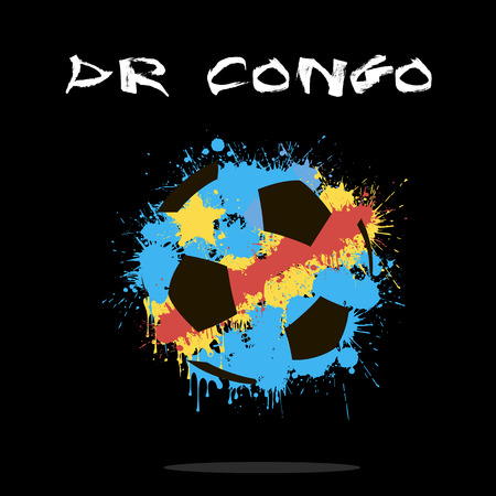 dr: Abstract soccer ball painted in the colors of the DR Congo flag. Vector illustration