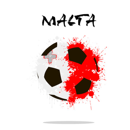 malta flag: Abstract soccer ball painted in the colors of the Malta flag. Vector illustration