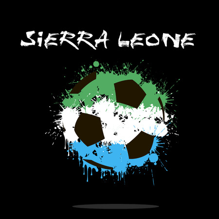 Abstract soccer ball painted in the colors of the Sierra Leone flag. Vector illustration
