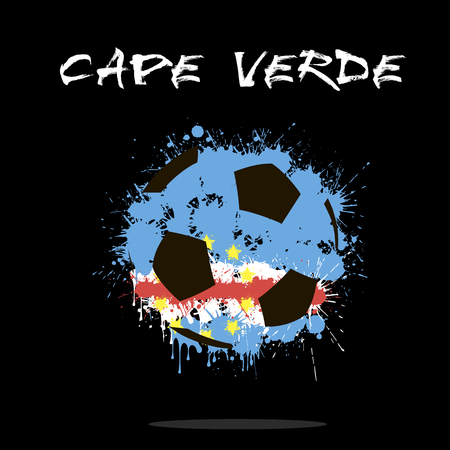 Abstract soccer ball painted in the colors of the Cape Verde flag. Vector illustration Illustration