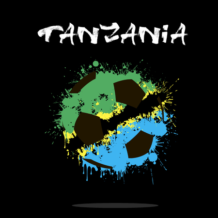 tanzania: Abstract soccer ball painted in the colors of the Tanzania flag. Vector illustration
