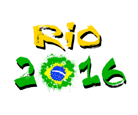 The inscription Rio 2016 with the flag of Brazil ink blots. Vector illustration