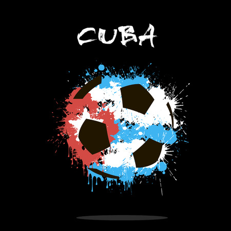 Abstract soccer ball painted in the colors of the Cuba flag. Vector illustration