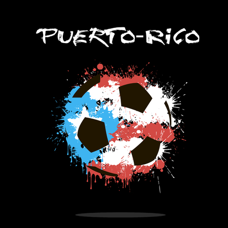 puertorico: Abstract soccer ball painted in the colors of the Puerto-Rico flag. Vector illustration