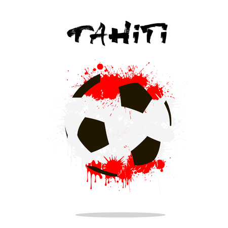 tahiti: Abstract soccer ball painted in the colors of the Tahiti flag. Vector illustration
