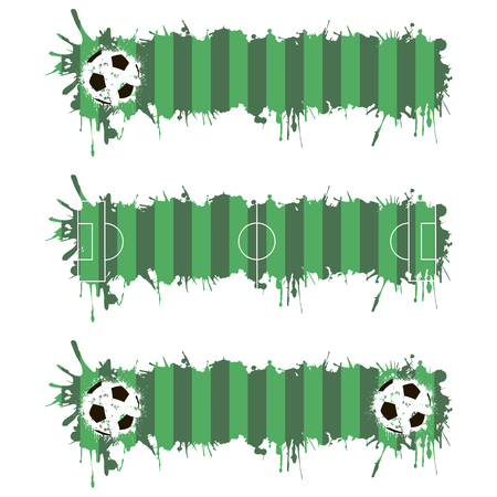 soccer pitch: Set soccer pitch with splashes of ink. Vector illustration Illustration
