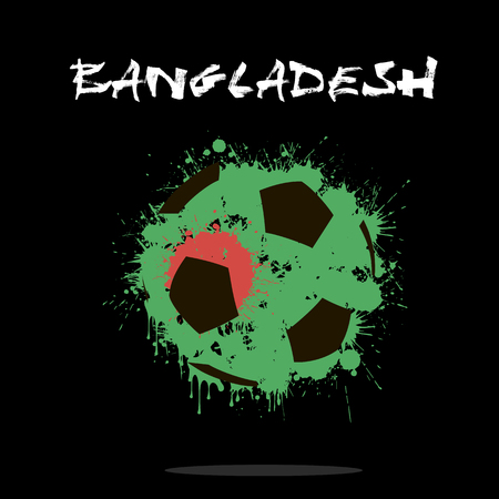 Abstract soccer ball painted in the colors of the Bangladesh flag. Vector illustration