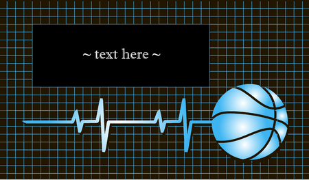 electrocardiograma: Baloncesto con el pulso y el campo para el texto. ilustración vectorial Vectores