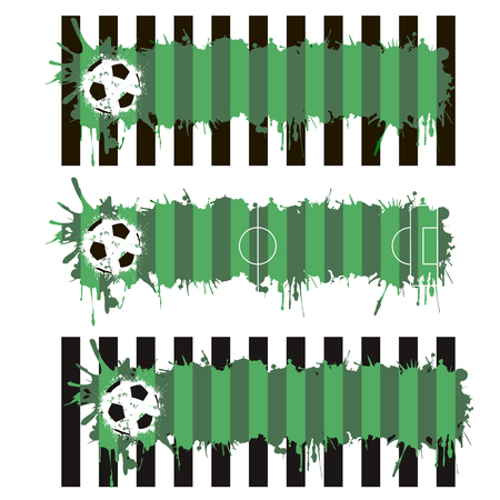 pitch: Set soccer pitch with splashes of ink. Vector illustration Illustration