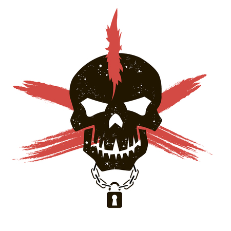 iroquois: Silhouette of a skull with a mohawk and a lock on the neck. Vector art. Vector illustration Illustration