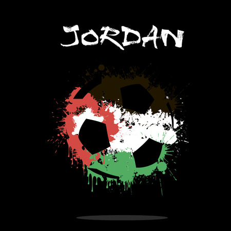 Abstract soccer ball painted in the colors of the Jordan flag. Vector illustration Illustration