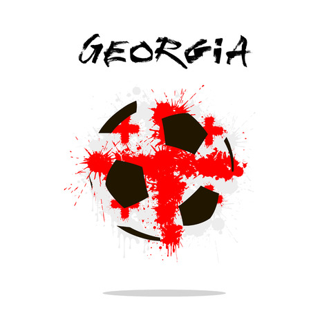 Abstract soccer ball painted in the colors of the Georgia flag. Vector illustration