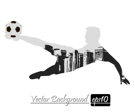 hit: City on the background of a football player silhouette. Vector illustration