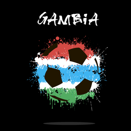 gambia: Abstract soccer ball painted in the colors of the Gambia flag.  illustration