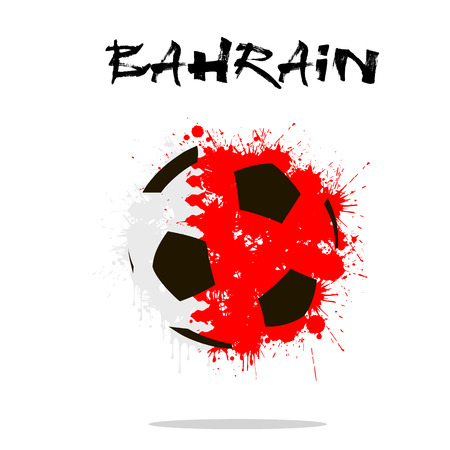 Abstract soccer ball painted in the colors of the Bahrain flag.  illustration
