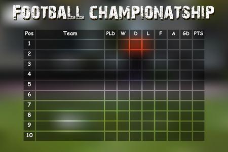 cuadro sinoptico: Tabla resumen campeonato de fútbol. ilustración vectorial
