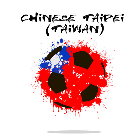 Abstract soccer ball painted in the colors of the Chinese Taipei Taiwan flag. Vector illustration