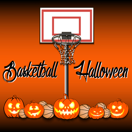 Basketballs and halloween pumpkin on a background of basketball rings. Vector illustration