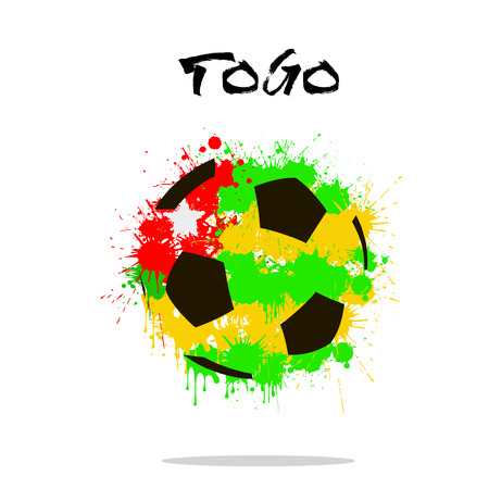 Abstract soccer ball painted in the colors of the Togo flag. Vector illustration