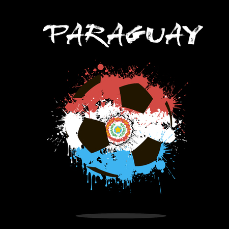 Abstract soccer ball painted in the colors of the Paraguay flag.illustration Illustration