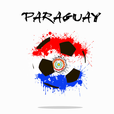 Abstract soccer ball painted in the colors of the Paraguay flag. illustration Illustration