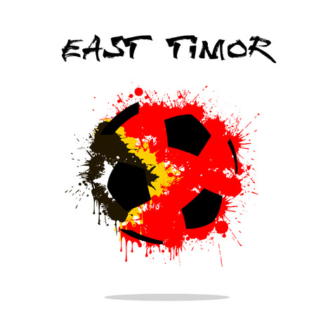 Abstract soccer ball painted in the colors of the East Timor flag. Vector illustration