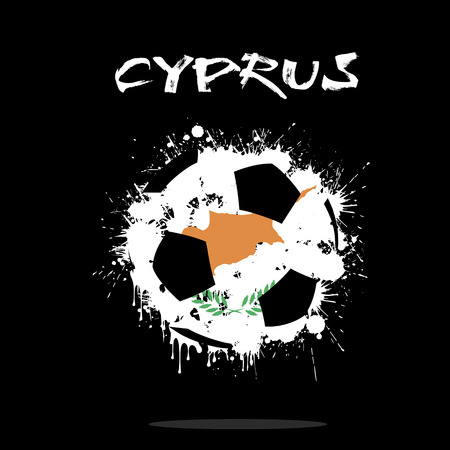 cyprus: Abstract soccer ball painted in the colors of the Cyprus  flag. Vector illustration